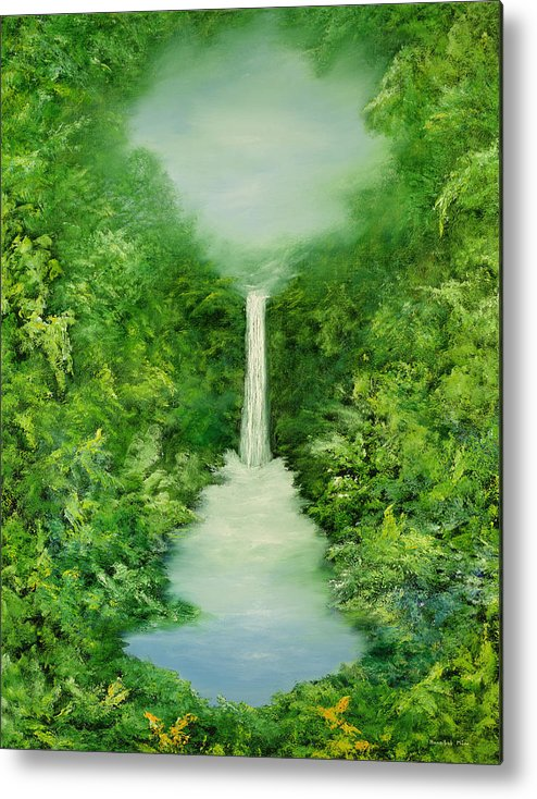 Mystical; Stream; Waterfall; Landscape; Tropical; Pool; Nature Metal Print featuring the painting The Everlasting Rain Forest by Hannibal Mane