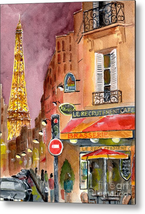 Painting Metal Print featuring the painting Evening In Paris by Sheryl Heatherly Hawkins