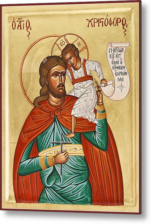 Icon Byzantine Metal Print featuring the painting St Christopher by Julia Bridget Hayes
