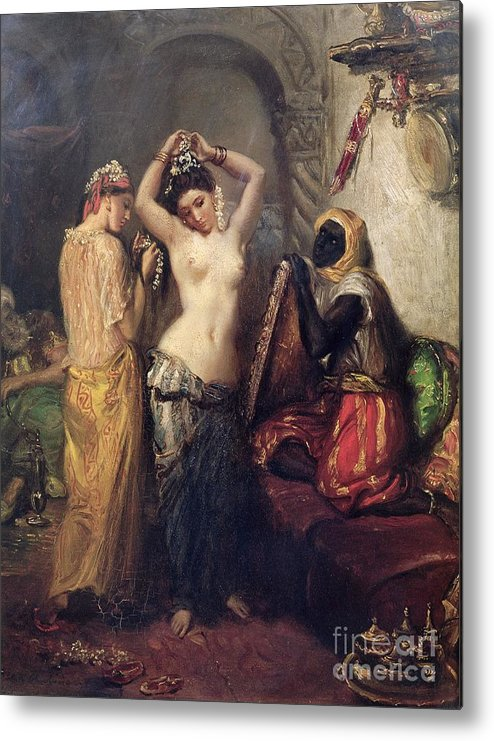 The Metal Print featuring the painting The Toilet In The Seraglio by Theodore Chasseriau