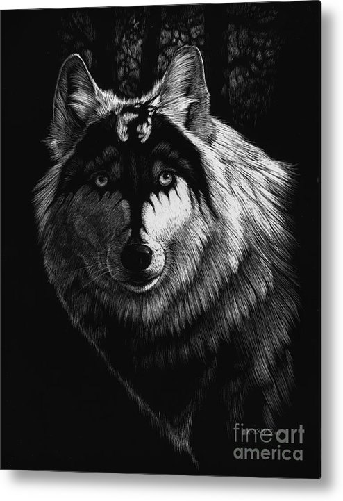 Wolf Metal Print featuring the painting Dragon Wolf by Stanley Morrison