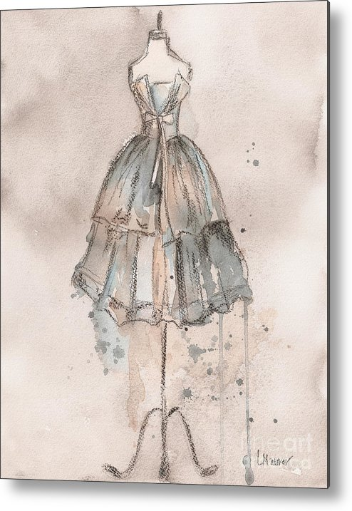 Vintage Dress Metal Print featuring the painting Strapless Champagne Dress by Lauren Maurer