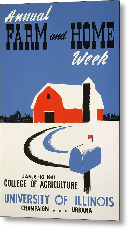 Vintage Metal Print featuring the painting University Of Illnois Farm And Home Week by American Classic Art