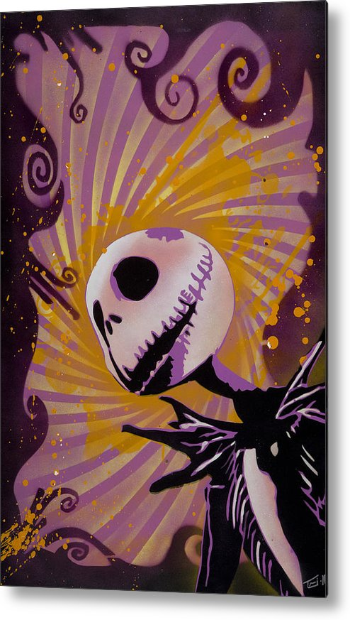 Pop Metal Print featuring the painting Jack Skellington by Tai Taeoalii