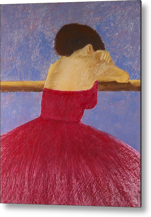 Pastel Metal Print featuring the painting Dancer In The Red Dress by David Patterson