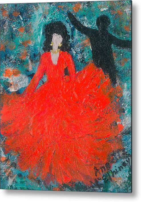 Women Metal Print featuring the painting Dancing Joyfully With Or Without Ned by Annette McElhiney