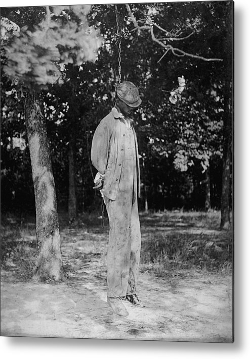 Historical Metal Print featuring the photograph Anonymous African American Lynching by Everett