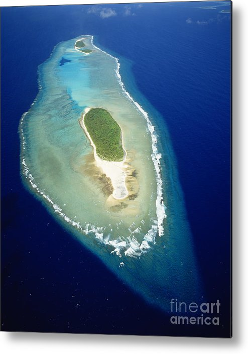 Aerial Metal Print featuring the photograph Losiep Atoll by Mitch Warner - Printscapes