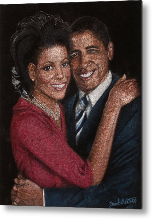Black Velvet Metal Print featuring the painting Michelle And Barack by Diane Bombshelter