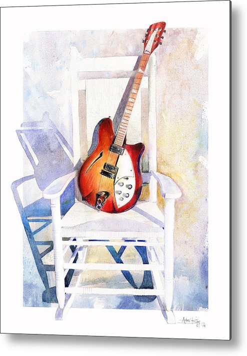 Guitar Metal Print featuring the painting Rock On by Andrew King