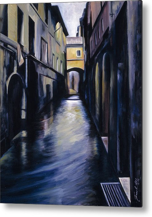 Street; Canal; Venice ; Desert; Abandoned; Delapidated; Lost; Highway; Route 66; Road; Vacancy; Run-down; Building; Old Signage; Nastalgia; Vintage; James Christopher Hill; Jameshillgallery.com; Foliage; Sky; Realism; Oils Metal Print featuring the painting Venice by James Christopher Hill