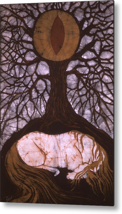 Horse Metal Print featuring the tapestry - textile Horse Sleeps Below Tree Of Rebirth by Carol Law Conklin