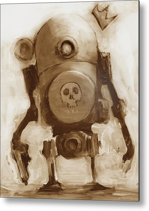 Robot Metal Print featuring the painting Basquibot by Matthew Schenk