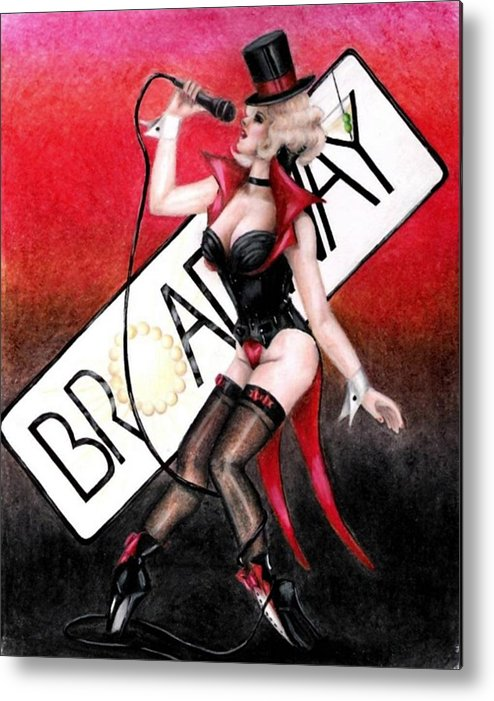 Pin-up Metal Print featuring the drawing Broadway Style by Scarlett Royal