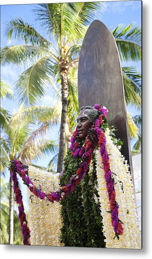 Aloha Metal Print featuring the photograph Duke Kahanamoku Covered In Leis by Brandon Tabiolo