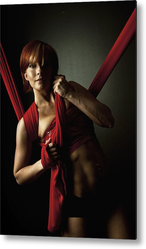 Silk Metal Print featuring the photograph Series In Red Silk Knot by Monte Arnold