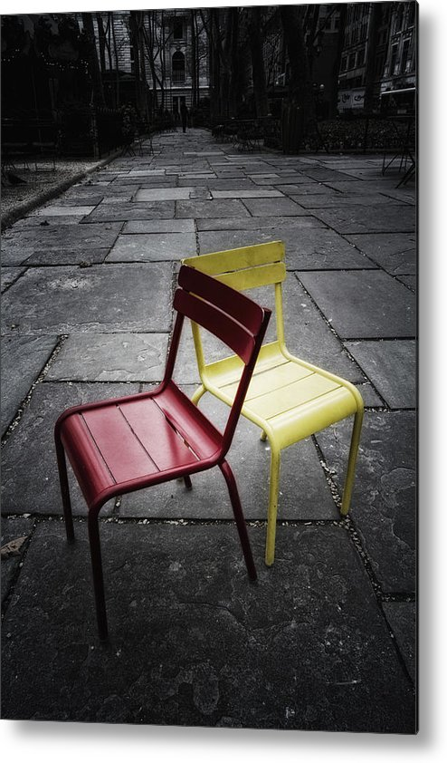 Chair Metal Print featuring the photograph Side By Side by Russell Styles