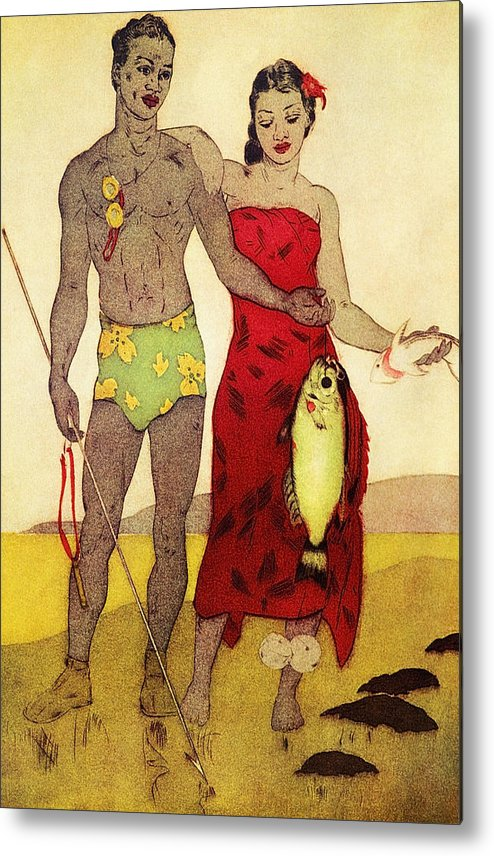 70-pfs0039 Metal Print featuring the painting Fisherman by Hawaiian Legacy Archives - Printscapes