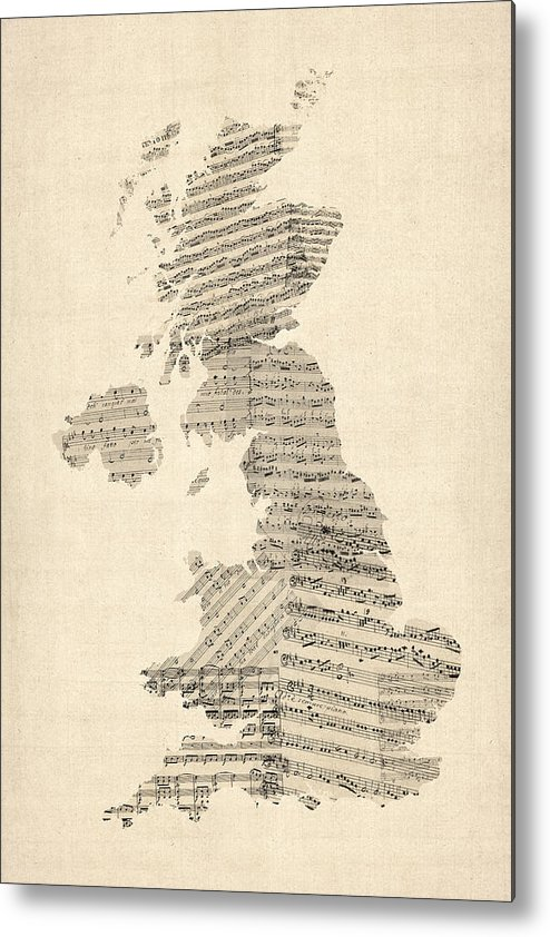 United Kingdom Map Metal Print featuring the digital art Great Britain Uk Old Sheet Music Map by Michael Tompsett
