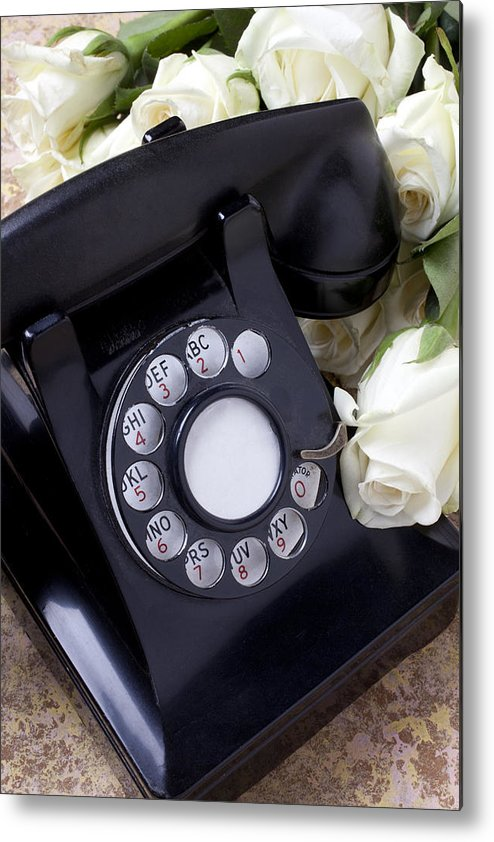 Old Metal Print featuring the photograph Old Phone And White Roses by Garry Gay
