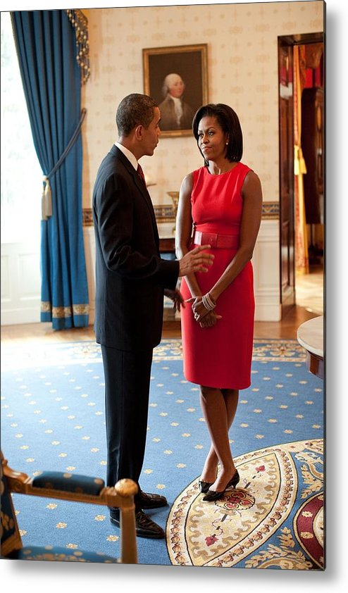 History Metal Print featuring the photograph President And Michelle Obama Talk by Everett