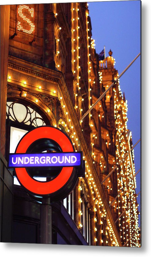 Harrods Metal Print featuring the photograph The Underground And Harrods At Night by Heidi Hermes