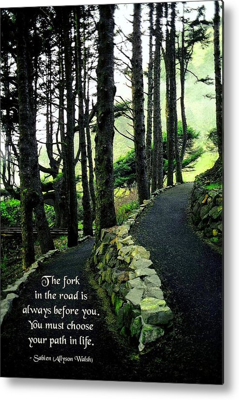 Quotation Metal Print featuring the photograph Fork In The Road by Mike Flynn