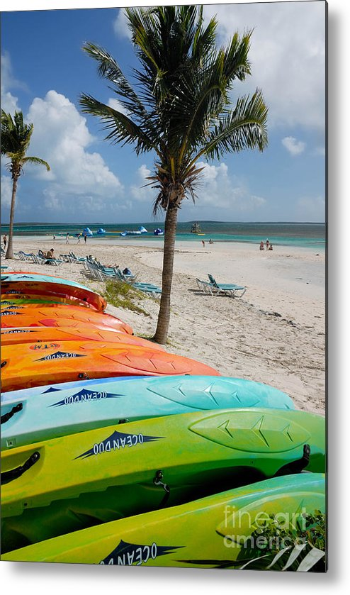 Bahamas Metal Print featuring the photograph Kayaks On The Beach by Amy Cicconi