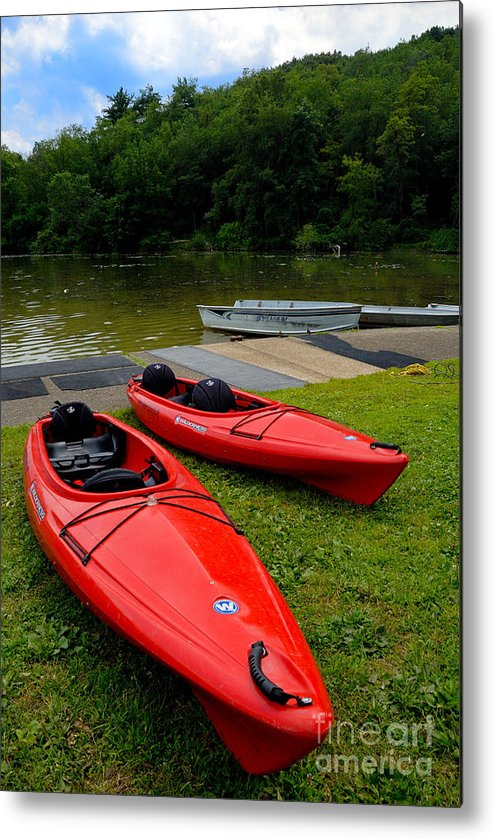 2 Seat Metal Print featuring the photograph Two Red Kayaks by Amy Cicconi