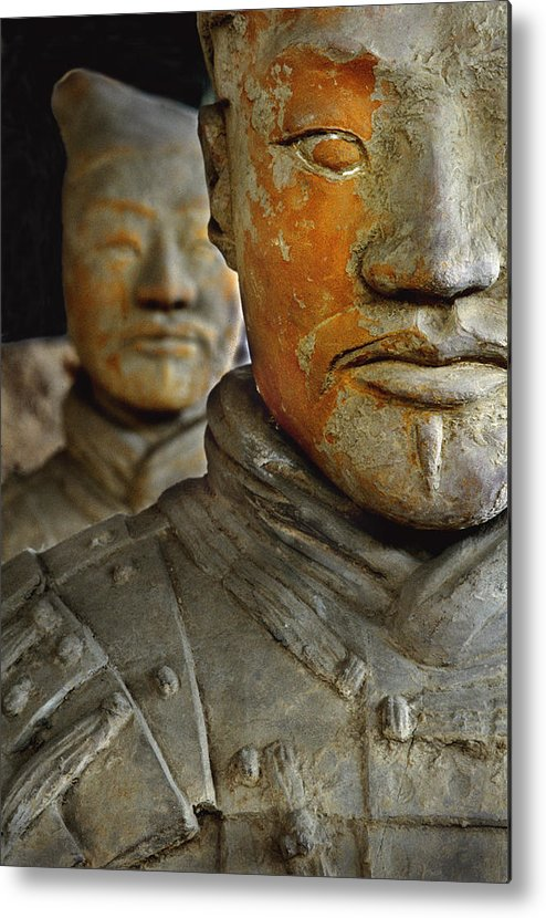 People's Republic Of China Metal Print featuring the photograph Pigment Remains On 2,200 Year Old Terra by O. Louis Mazzatenta