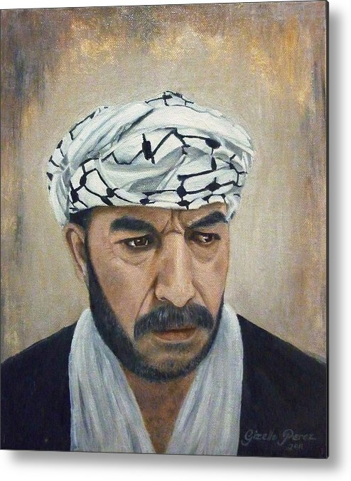 Palestinian Metal Print featuring the painting Angry Palestinian by Gizelle Perez