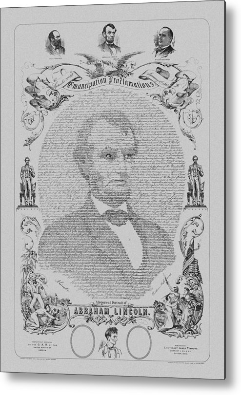 Emancipation Proclamation Metal Print featuring the drawing The Emancipation Proclamation by War Is Hell Store