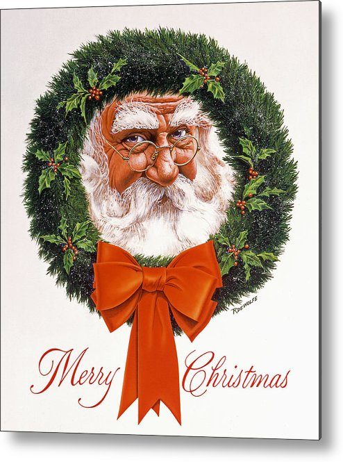 Santa Metal Print featuring the painting Jolly Old Saint Nick by Richard De Wolfe