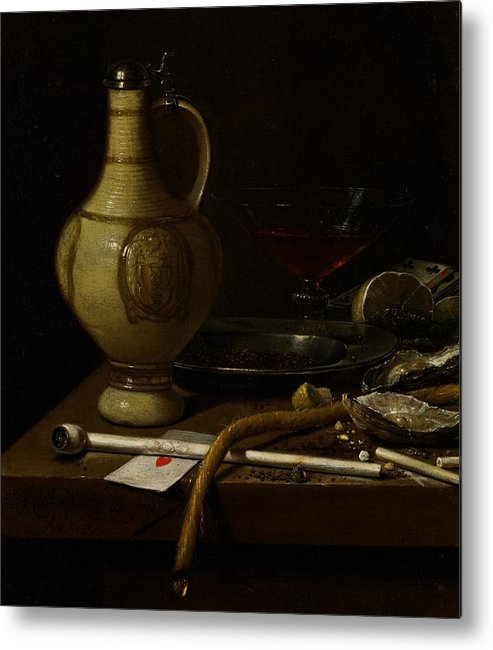 Still Metal Print featuring the painting Still Life by Jan Jansz van de Velde