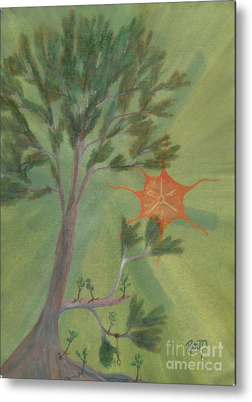 Watercolor Metal Print featuring the painting A Great Tree Grows by Robert Meszaros