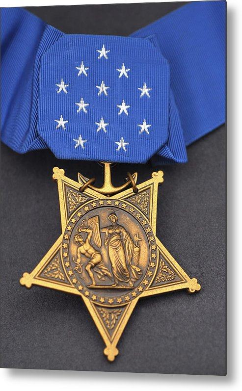 Medal Of Honor Metal Print featuring the photograph Close-up Of The Medal Of Honor Award by Stocktrek Images