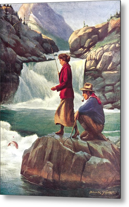 Phillip Goodwin Metal Print featuring the painting Man And Woman Fishing by JQ Licensing