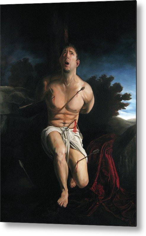 Saint Sebastain Metal Print featuring the painting Self Portrait As St. Sebastian by Eric Armusik