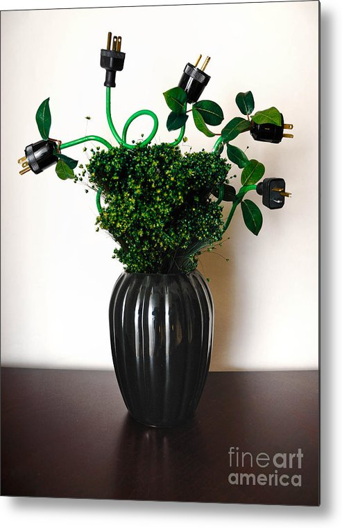 Alternative Energy Metal Print featuring the photograph Green Energy Floral Arrangement Of Electrical Plugs by Amy Cicconi