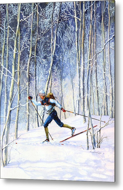 Sports Artist Metal Print featuring the painting Whispering Tracks by Hanne Lore Koehler