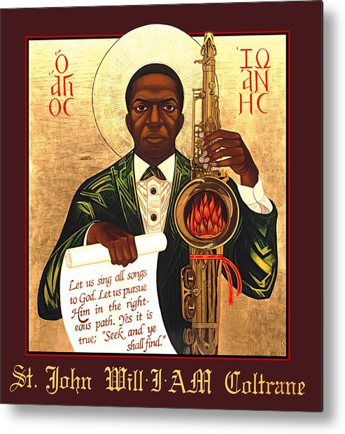 Saint John Coltrane. Black Christ Religion Metal Print featuring the painting Saint John The Divine Sound Baptist by Mark Dukes