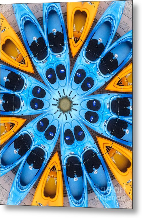 Boat Metal Print featuring the digital art Kaleidoscope Canoes by Amy Cicconi