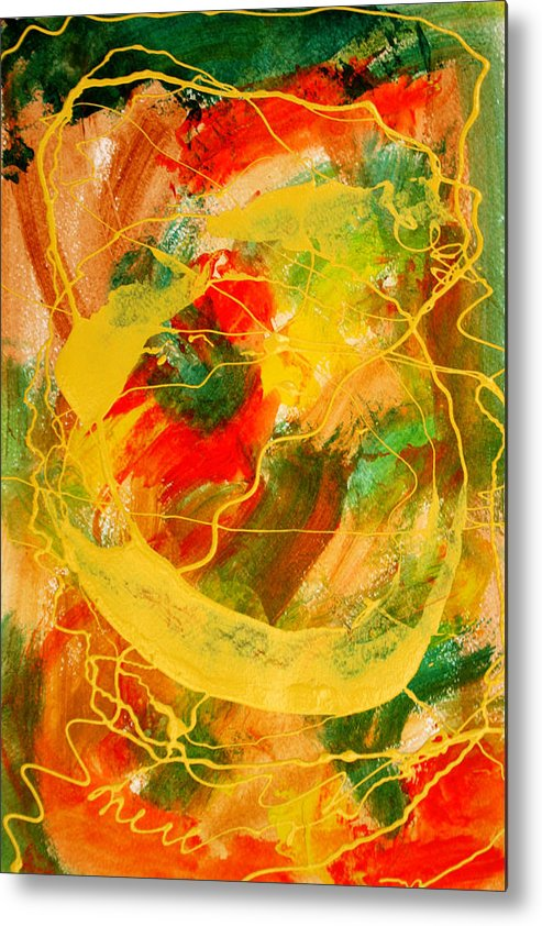 Abstract Metal Print featuring the painting Punkin Patch by Mordecai Colodner