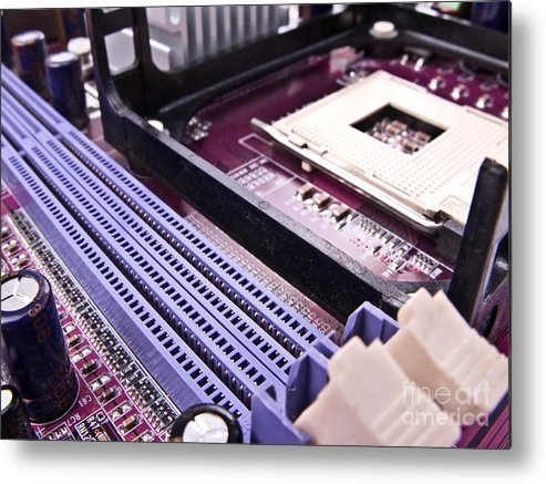 Motherboard Metal Print featuring the photograph Pc Motherboard by Jose Elias - Sofia Pereira