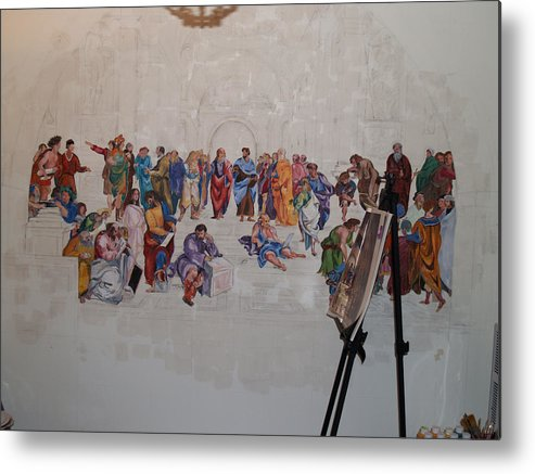 Photography Metal Print featuring the painting Behind The Scenes Mural 7 by Becky Kim