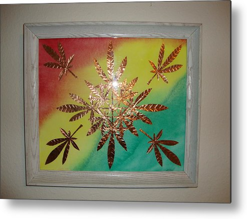 Red Metal Print featuring the mixed media Dream Leaves One by Scott Faucett