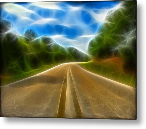 Road Metal Print featuring the digital art The Journey by Wendy J St Christopher