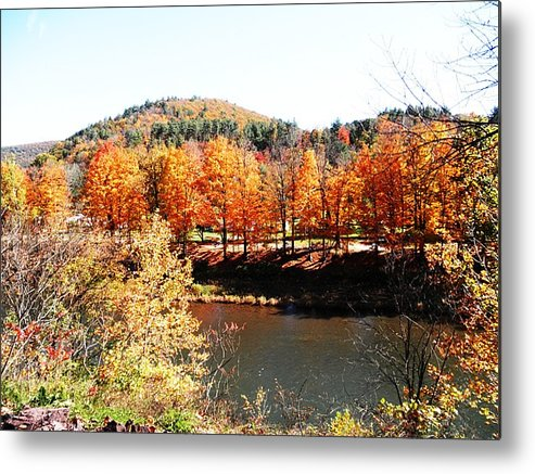 Trees Metal Print featuring the photograph Autumn By The River by Jeanette Oberholtzer