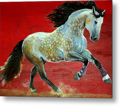 Horse Metal Print featuring the painting Awesome Brioso by Jenn Cunningham