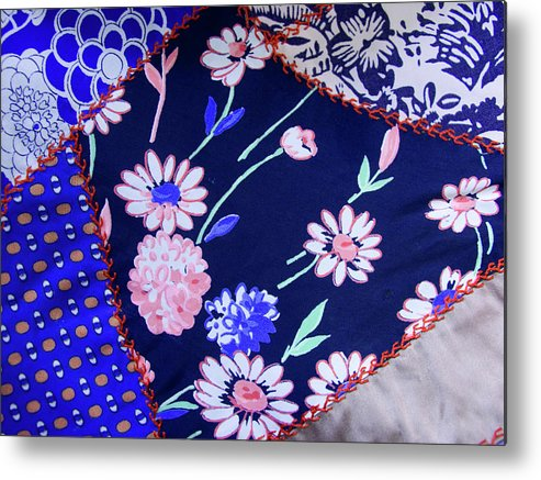 Quilt Art Metal Print featuring the photograph Blue On Blue by Bonnie Bruno